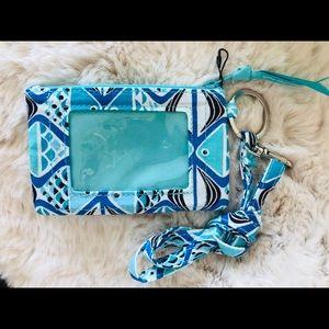 Vera Bradley zip ID wallet lanyard set